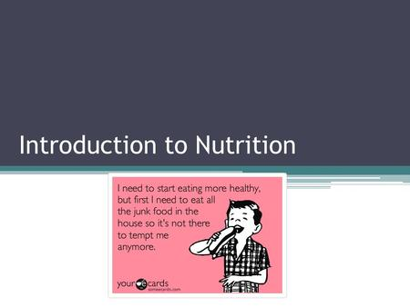 Introduction to Nutrition. Track Your Diet Assignment Using the SuperTracker website you will track what you eat for a minimum of 3 days https://www.supertracker.usda.gov/default.aspx.