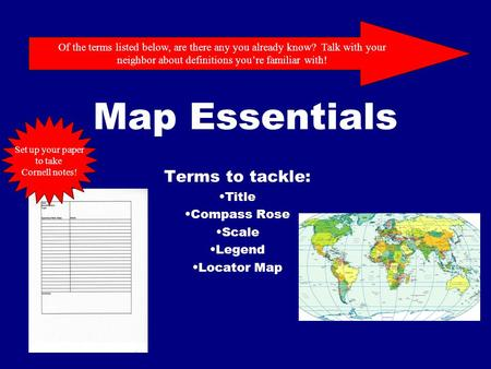 Terms to tackle: Title Compass Rose Scale Legend Locator Map