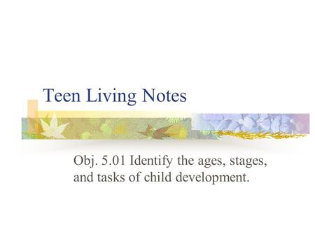 Obj Identify the ages, stages, and tasks of child development.