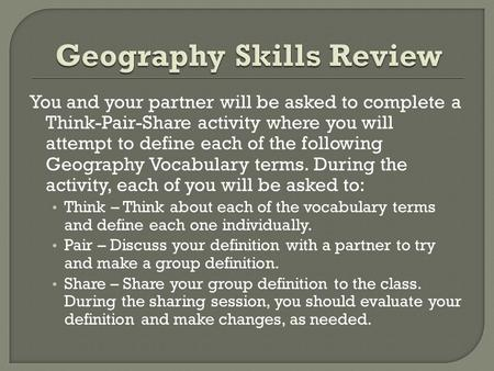 Geography Skills Review