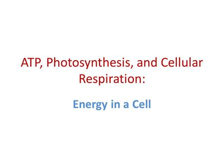ATP, Photosynthesis, and Cellular Respiration: Energy in a Cell.