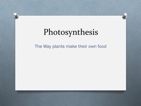 Photosynthesis The Way plants make their own food.