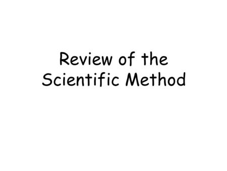 Review of the Scientific Method. MFMcGrawChap0-Scientific Method-Revised 5/5/102 CONCEPT - an abstract or generic idea generalized from particular instances.