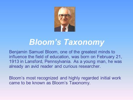 benjamin samuel bloom biography