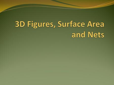3D Figures What is a 3D figure? A solid shape with length, width, and height rectangular prisms cube cone cylinder pyramid.