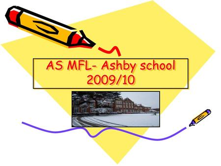 AS MFL- Ashby school 2009/10. We offer AS and A2… French German Spanish We have more students at AS and A2 than any other School in Leics!!!