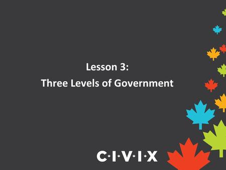Lesson 3: Three Levels of Government. Canada is a very large country with lots of people and different needs and interests. To support these needs and.