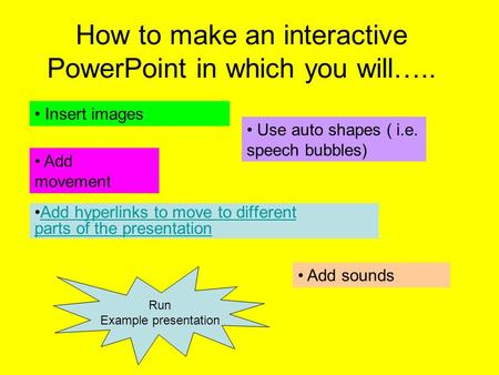 How to make an interactive PowerPoint in which you will….. Add hyperlinks to move to different parts of the presentationAdd hyperlinks to move to different.