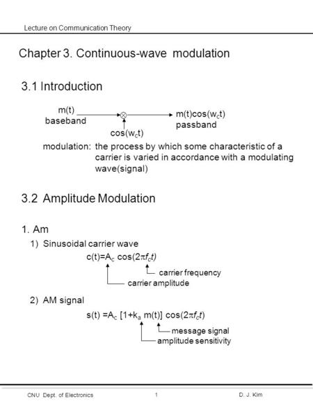 CNU Dept. of Electronics D. J. Kim1 Lecture on Communication Theory Chapter 3. Continuous-wave <strong>modulation</strong> 3.1 Introduction <strong>modulation</strong>:the process by which.