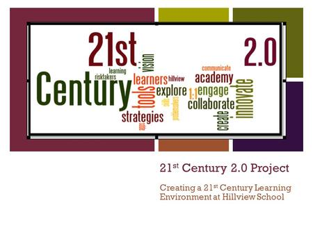 21 st Century 2.0 Project Creating a 21 st Century Learning Environment at Hillview School.