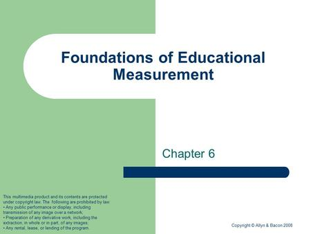 Foundations of Educational Measurement