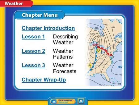 Chapter Menu Chapter Introduction Lesson 1Lesson 1Describing Weather Lesson 2Lesson 2Weather Patterns Lesson 3Lesson 3Weather Forecasts Chapter Wrap-Up.