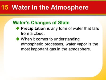 Water's Changes of State 15 Water in the Atmosphere  Precipitation is any form of water that falls from a cloud.  When it comes to understanding atmospheric.
