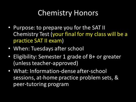 Welcome To IB HL Higher Level Chemistry Christiane