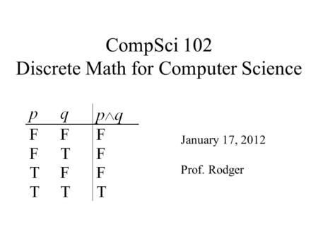 CompSci 102 Discrete Math for Computer Science January 17, 2012 Prof. Rodger.