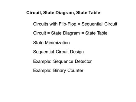 Circuit, State Diagram, State Table