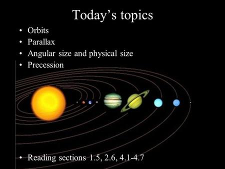 Today's topics Orbits Parallax Angular size and physical size Precession Reading sections 1.5, 2.6, 4.1-4.7.