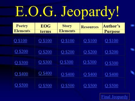 E.O.G. Jeopardy! Poetry Elements EOG terms Story Elements Resources Author's Purpose Q $100 Q $200 Q $300 Q $400 Q $500 Q $100 Q $200 Q $300 Q $400 Q.