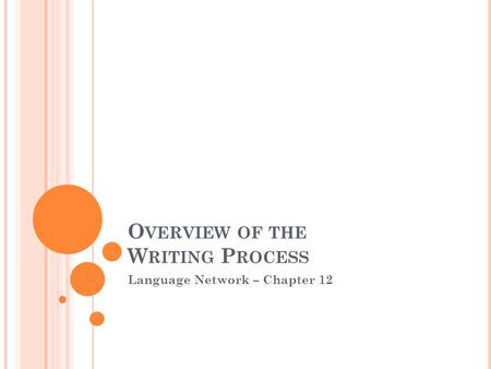 O VERVIEW OF THE W RITING P ROCESS Language Network – Chapter 12.