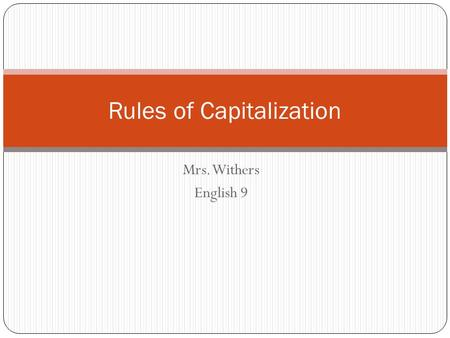 Rules of Capitalization