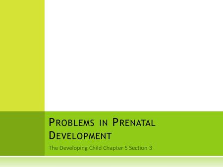The Developing Child Chapter 5 Section 3 P ROBLEMS IN P RENATAL D EVELOPMENT.