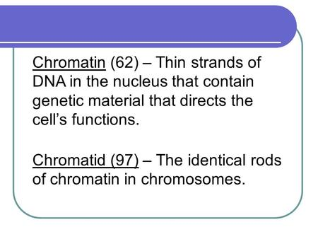 Chromatid (97) – The identical rods of <strong>chromatin</strong> in <strong>chromosomes</strong>. <strong>Chromatin</strong> (62) – Thin strands of DNA in the nucleus that contain genetic material that.