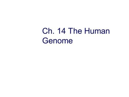 Ch. 14 The Human Genome.