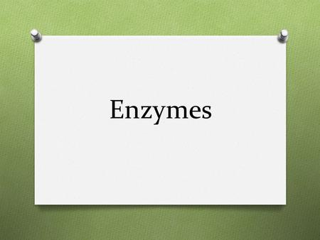 Enzymes. O Protein O Only act on certain substances called substrates.