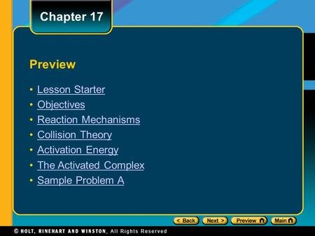 Chapter 17 Preview Lesson Starter Objectives Reaction Mechanisms