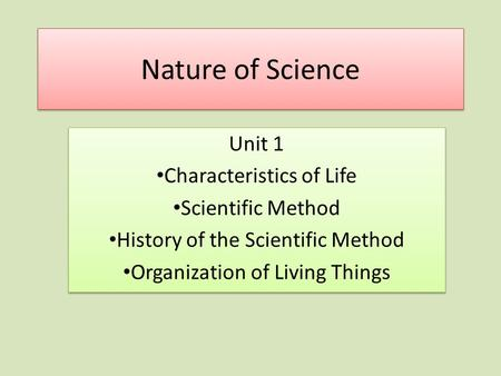Nature of Science Unit 1 Characteristics of Life Scientific Method History of the Scientific Method Organization of Living Things Unit 1 Characteristics.