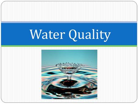 Water Quality. Indicators of Water Quality 1) Nitrates a) Eutrophication b) Algae Blooms 2) pH 3) Turbidity 4) Temperature 5) Dissolved Oxygen 6) Bioindicators.