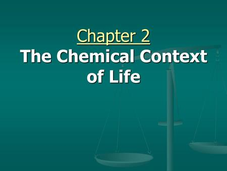 Chapter 2 The Chemical Context of Life. A. Elements and Compounds 1. Matter consists of chemical elements in pure form and in combinations called compounds.