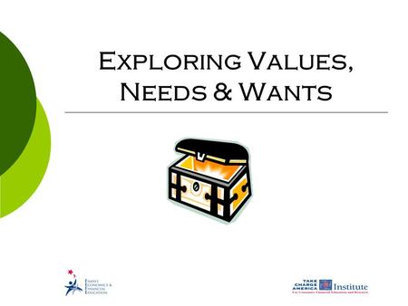 Exploring Values, Needs & Wants. © Family Economics & Financial Education – Revised April 2007 – Get Ready to Take Charge of Your Finances – Exploring.