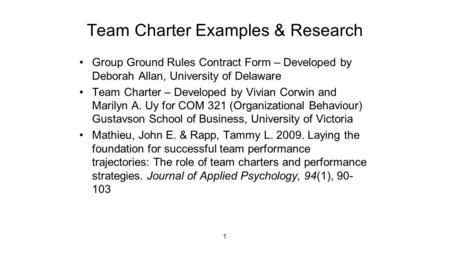 Team Charter Examples Research