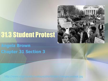 31.3 Student Protest Angela Brown Chapter 31 Section 3  1.
