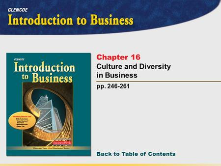 Back to Table of Contents pp. 246-261 Chapter 16 Culture and Diversity in Business.