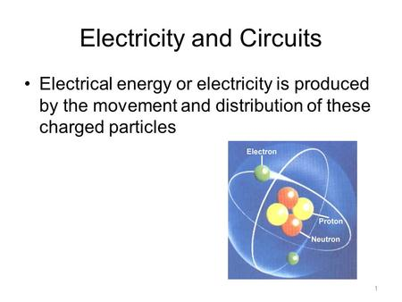Electricity and Circuits Electrical energy or electricity is produced by the movement and distribution of these charged particles 1.
