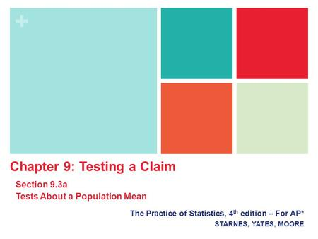 + The Practice of Statistics, 4 th edition – For AP* STARNES, YATES, MOORE Chapter 9: Testing a Claim Section 9.3a Tests About a Population Mean.