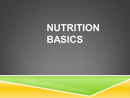 NUTRITION BASICS. WORDS TO KNOW! NUTRITION – The science that studies how the body makes use of food. DIET – Everything you eat and drink. NUTRIENTS –