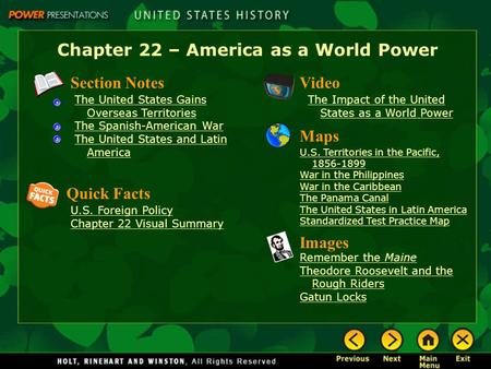 Chapter 22 – America as a World Power
