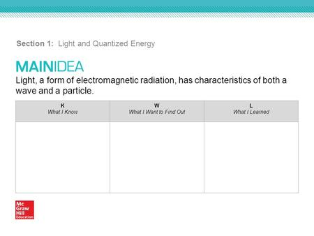 Section 1: Light and Quantized Energy