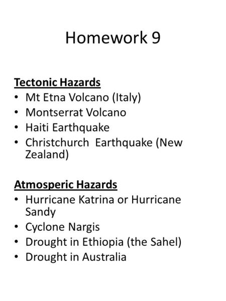 Homework 9 Tectonic Hazards Mt Etna Volcano (Italy) Montserrat Volcano Haiti Earthquake Christchurch Earthquake (New Zealand) Atmosperic Hazards Hurricane.