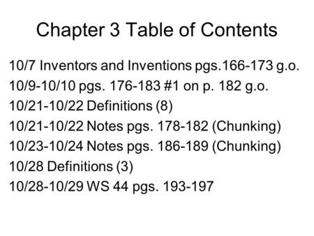 Chapter 3 Table of Contents 10/7 Inventors and Inventions