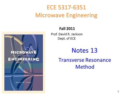 Notes 13 ECE Microwave Engineering