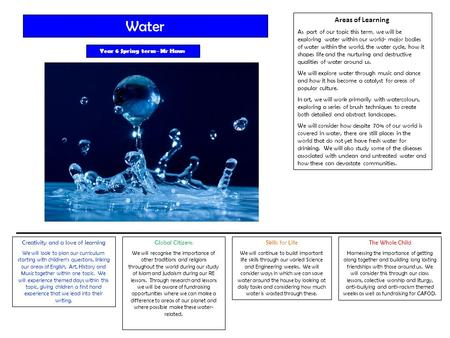 Areas of Learning As part of our topic this term, we will be exploring water within our world- major bodies of water within the world, the water cycle,