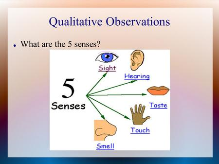 Qualitative Observations What are the 5 senses?. Write 3 qualitative observations about the following picture...