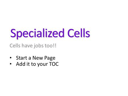 Specialized Cells Cells have jobs too!! Start a New Page Add it to your TOC.