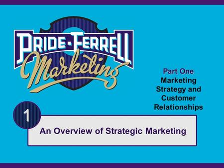 Part One Marketing Strategy and Customer Relationships 1 An Overview of Strategic Marketing.