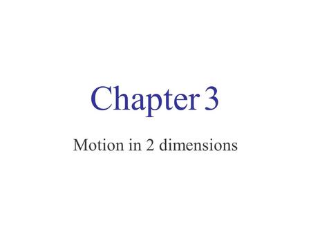 Chapter 3 Motion in 2 dimensions. 1) Displacement, velocity and acceleration displacement is the vector from initial to final position.