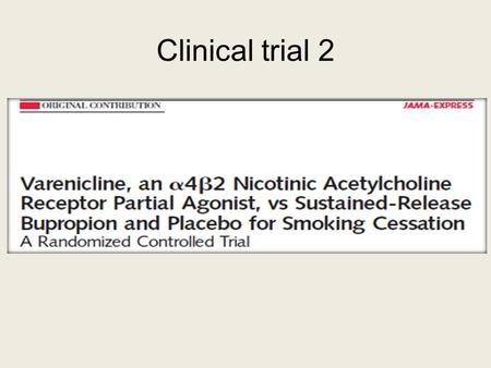 Clinical trial 2. Objective To evaluate efficacy and safety of varenicline for smoking cessation compared with sustained-release bupropion (bupropion.